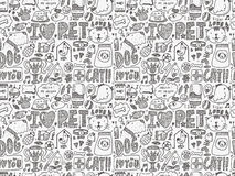 Seamless doodle pet pattern Stock Photo