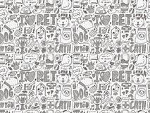 Seamless doodle pet pattern. Cartoon vector illustration Stock Photo