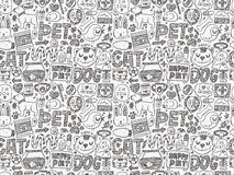 Seamless doodle pet pattern Royalty Free Stock Photo