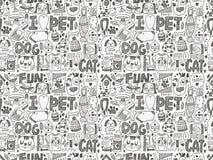 Seamless doodle pet pattern. Cartoon vector illustration Stock Image