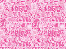 Seamless doodle pet pattern. Cartoon vector illustration Stock Photography