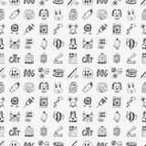 Seamless doodle pet pattern Royalty Free Stock Photos