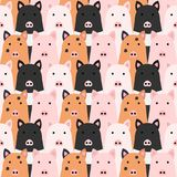 Seamless doodle pigs faces colorful background. Seamless doodle pigs colorful background vector illustration