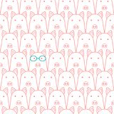 Seamless doodle pigs faces line art background. Seamless doodle pigs line art background, one pig with eyeglasses vector illustration