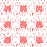 Seamless doodle pigs faces lineart background. Seamless doodle pigs line art background royalty free illustration
