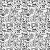 Seamless doodle pirate pattern Stock Photo