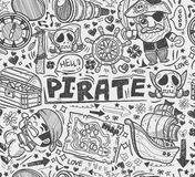 Seamless doodle pirate pattern Royalty Free Stock Images