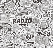 Seamless doodle radio pattern Stock Image