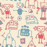 Seamless doodle robots Stock Images