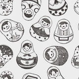 Seamless doodle Russian Doll pattern Stock Photo