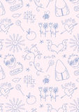 Seamless doodle school pattern for girls Stock Photography