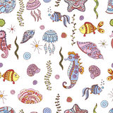 Seamless doodle sea pattern. Vector EPS 10 illustration for design Royalty Free Stock Images