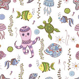 Seamless doodle sea pattern. Vector EPS 10 illustration for design Stock Images