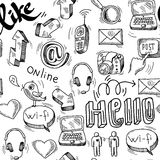 Seamless doodle social media pattern background Stock Photo