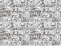 Seamless doodle space pattern Stock Image
