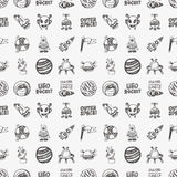 Seamless doodle space pattern Stock Photography