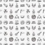 Seamless doodle space pattern. Cartoon vector illustration royalty free illustration