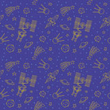 Seamless Doodle Space Pattern Royalty Free Stock Photo