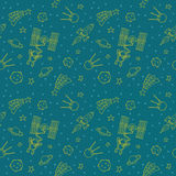 Seamless Doodle Space Pattern Stock Photo