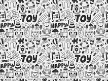 Seamless doodle toy pattern Stock Images