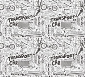 Seamless doodle transport pattern. Cartoon vector illustration Stock Images