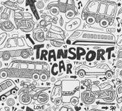 Seamless doodle transport pattern. Cartoon vector illustration Stock Photos