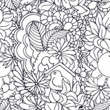 Seamless doodle vector pattern with spring and floral elements Stock Image