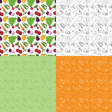 Seamless Doodle Vegetable Pattern. Seamless veggie doodle pattern in four variations Royalty Free Stock Photography