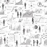Seamless doodle web infographics background Stock Photos