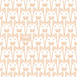 Seamless doodle wild boar faces lineart background. Seamless doodle wild boar line art background vector illustration