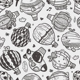 Seamless doodlehot air balloon  pattern Royalty Free Stock Photo
