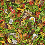 Seamless doodles abstract fast food pattern Stock Photos