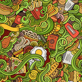 Seamless doodles abstract fast food pattern Stock Image