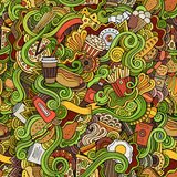 Seamless doodles abstract fast food pattern Royalty Free Stock Image