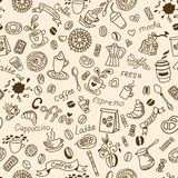 Seamless doodles background with coffee and bakery products. Royalty Free Stock Photos
