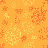 Seamless doodles floral berry pattern Royalty Free Stock Image