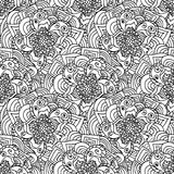 Seamless doodles pattern. Black and white fishnet flowers. Royalty Free Stock Image