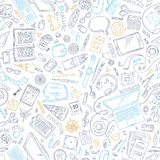Seamless doodles pattern of work place. Hand-drawn outlined gadgets and office supplies on white background. 70+ items. Top view. Work and education. Stationery Stock Photos