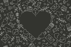 Seamless doodles Valentine`s pattern. Cartoon romantic objects: heart, wings, branch with leaves bird, gift, lock, key. Letter on black background. Love signs royalty free illustration