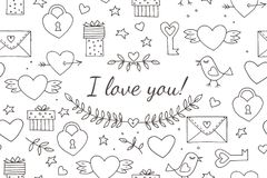Seamless doodles Valentine`s pattern. Cartoon romantic objects: heart, wings, branch with leaves bird, gift, lock, key. Letter on white background. Love signs royalty free illustration