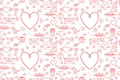 Seamless doodles Valentine`s pattern. Cartoon romantic objects: heart, wings, branch with leaves bird, gift, lock, key. Letter on white background. Love signs vector illustration