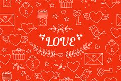 Seamless doodles Valentine`s pattern. Cartoon romantic objects: heart, wings, branch with leaves bird, gift, lock, key. Letter on red background. Love signs vector illustration