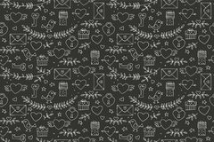 Seamless doodles Valentine`s pattern. Cartoon romantic objects: heart, wings, branch with leaves bird, gift, lock, key. Letter on black background. Love signs stock illustration
