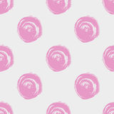Seamless dot pattern. Hand painted circles with rough edges. Dry brush ink illustration.  Royalty Free Stock Images