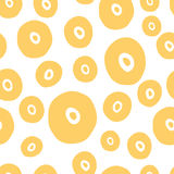 Seamless dot pattern. Hand painted circles with. Vector yellow seamless pattern for summer design. Abstract background with round elements like sun. Hand painted Stock Photo