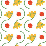 Seamless dots abd flowers. Seamless tangerine dots and flowers Stock Photo
