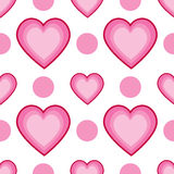 Seamless Dots and Hearts Royalty Free Stock Image