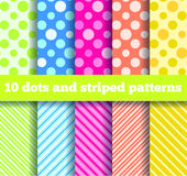 10 seamless dots and striped patterns Stock Photo