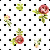 Seamless dots style floral pattern. Vector illustration Stock Photos
