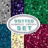 Seamless dotted pattern set Stock Image